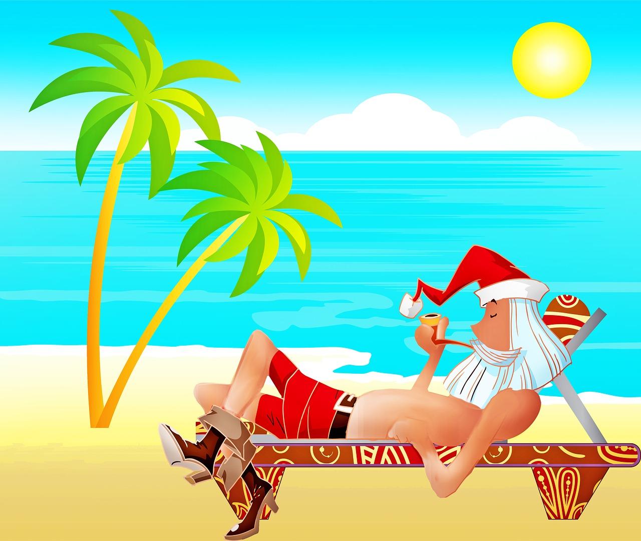 pixabay kerstman op het strand vakantie in 2020